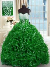 Comfortable Brush Train Ball Gowns Quinceanera Gowns Green Sweetheart Organza Sleeveless With Train Lace Up