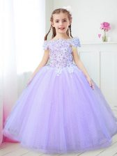 Sweet Off the Shoulder Tulle Cap Sleeves Floor Length Toddler Flower Girl Dress and Beading and Appliques