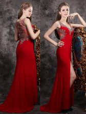 Sleeveless Chiffon With Brush Train Zipper Prom Dresses in Red with Appliques
