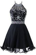 Custom Made Black Zipper Scoop Beading and Belt Prom Party Dress Organza Sleeveless