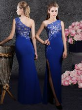 Suitable One Shoulder Royal Blue Sleeveless Lace and Appliques Floor Length Prom Gown
