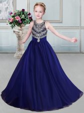 Sweet Scoop Sleeveless Organza Child Pageant Dress Beading and Belt Backless