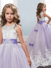 Fantastic Scoop Sleeveless Brush Train Lace Up Little Girls Pageant Gowns Lavender Tulle