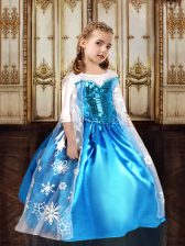 Scoop Half Sleeves Zipper Floor Length Sequins and Pattern Pageant Gowns For Girls