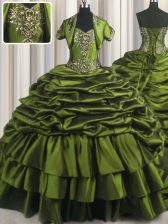 Custom Design Ruffled Olive Green Short Sleeves Taffeta Brush Train Lace Up Sweet 16 Quinceanera Dress for Military Ball and Sweet 16 and Quinceanera