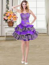 Ruffled Mini Length Ball Gowns Sleeveless Eggplant Purple Evening Dress Lace Up