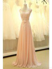 Ideal Scoop Peach Zipper Homecoming Dress Appliques and Belt Sleeveless Sweep Train