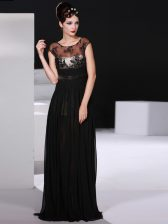 Inexpensive Black Empire Chiffon Scoop Sleeveless Appliques Floor Length Backless Prom Dress