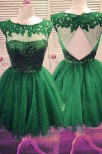 Beauteous Knee Length Dark Green Tulle Sleeveless Beading
