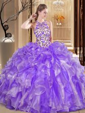 Scoop Embroidery and Ruffles Quinceanera Dress Lavender Backless Sleeveless Floor Length