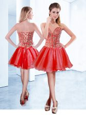 Sophisticated V-neck Sleeveless Evening Dress Mini Length Beading Red Organza
