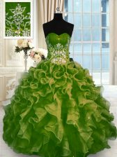 Sweetheart Sleeveless Sweet 16 Quinceanera Dress Floor Length Beading and Ruffles Olive Green Organza