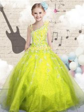 Sleeveless Beading and Appliques and Hand Made Flower Lace Up Kids Pageant Dress