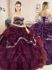 Burgundy and Purple Ball Gowns Sweetheart Sleeveless Organza Floor Length Lace Up Beading and Ruffled Layers and Pick Ups 15th Birthday Dress
