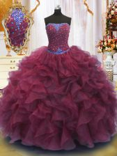 High End Sleeveless Floor Length Beading and Ruffles Lace Up Quince Ball Gowns with Burgundy