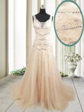 Mermaid Champagne Straps Lace Up Ruching Evening Dress Sweep Train Sleeveless