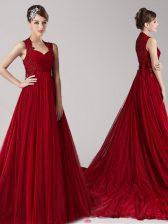 Straps Wine Red Sleeveless Appliques Side Zipper Evening Dress