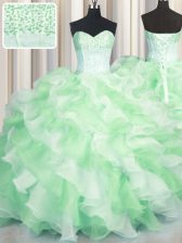 Visible Boning Two Tone Sweetheart Sleeveless Lace Up Quinceanera Dress Multi-color Organza