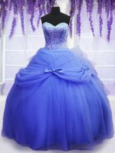 Blue Sleeveless Floor Length Beading and Bowknot Lace Up Quinceanera Gown