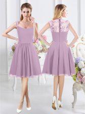 Top Selling Lavender Straps Neckline Lace Damas Dress Cap Sleeves Zipper