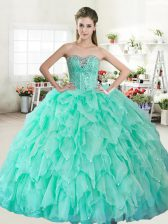 Affordable Apple Green Organza Lace Up Sweetheart Sleeveless Floor Length 15th Birthday Dress Beading