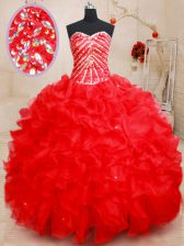 Red Sleeveless Floor Length Beading and Ruffles Lace Up 15 Quinceanera Dress