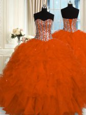 Edgy Sleeveless Floor Length Beading and Ruffles Lace Up 15th Birthday Dress with Red