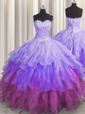 Decent Sequins Ruffled Multi-color Sleeveless Organza Lace Up Sweet 16 Dress for Military Ball and Sweet 16 and Quinceanera