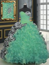 Printed Green Sleeveless Brush Train Beading and Ruffles and Pattern With Train Quinceanera Dresses