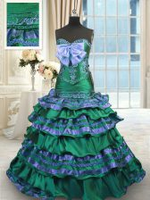 Sleeveless Appliques and Embroidery and Ruffled Layers and Bowknot Lace Up Sweet 16 Dresses with Dark Green Brush Train