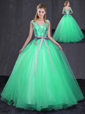 Turquoise Ball Gowns V-neck Sleeveless Tulle Floor Length Lace Up Appliques and Belt Quince Ball Gowns