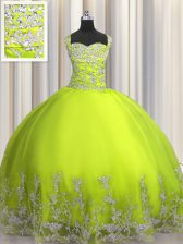 Straps Sleeveless Lace Up Vestidos de Quinceanera Yellow Green Tulle
