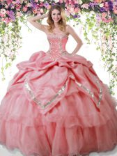 Amazing Watermelon Red Sleeveless Floor Length Beading and Pick Ups Lace Up Vestidos de Quinceanera