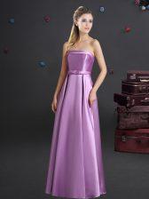 Beauteous Strapless Sleeveless Zipper Quinceanera Dama Dress Lilac Elastic Woven Satin