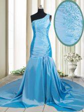Pretty Mermaid One Shoulder Baby Blue Sleeveless Elastic Woven Satin Brush Train Zipper for Prom