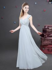 Luxury Grey Vestidos de Damas Prom and Party and Wedding Party with Ruching One Shoulder Sleeveless Zipper