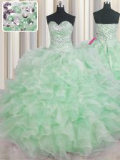Discount Sleeveless Organza Floor Length Lace Up Quinceanera Gown in Apple Green with Beading and Ruffles