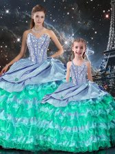 Multi-color Ball Gowns Beading and Ruffles Vestidos de Quinceanera Lace Up Organza Long Sleeves Floor Length