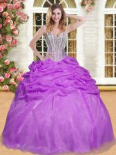Perfect Sweetheart Sleeveless Quinceanera Gown Floor Length Beading and Pick Ups Eggplant Purple Organza