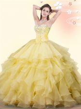 Dramatic Yellow 15th Birthday Dress Military Ball and Sweet 16 and Quinceanera with Beading and Ruffles Sweetheart Sleeveless Lace Up
