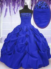 New Arrival Royal Blue Taffeta Lace Up Strapless Sleeveless Floor Length Ball Gown Prom Dress Embroidery and Pick Ups