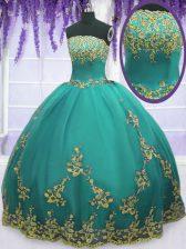Aqua Blue Tulle Zipper Strapless Sleeveless Floor Length Sweet 16 Quinceanera Dress Appliques