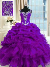 Straps Sleeveless Quinceanera Dresses Floor Length Beading and Ruffles and Pick Ups Purple Organza