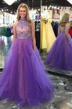 Sweet Lavender Backless Scoop Beading Prom Dresses Tulle Sleeveless