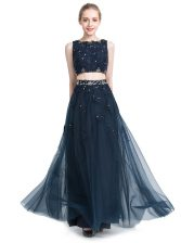 Affordable Scoop Floor Length Navy Blue Evening Dress Chiffon Sleeveless Beading