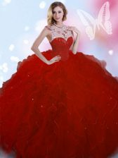 Top Selling Beading Quince Ball Gowns Wine Red Zipper Sleeveless Floor Length