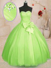 Dynamic Sleeveless Beading and Bowknot Lace Up Sweet 16 Dress