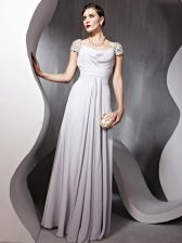 Artistic Cap Sleeves Floor Length Beading and Ruching Zipper Dress for Prom with Silver