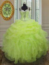 New Style Ball Gowns Quinceanera Dress Yellow Green Straps Organza Sleeveless Floor Length Zipper