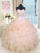 Glittering Peach Ball Gowns Beading and Ruffles Sweet 16 Dresses Lace Up Organza Sleeveless Floor Length